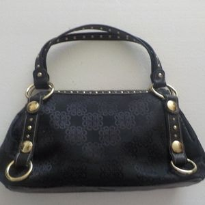 Black Fabric/Leather/Gold Metal Bag